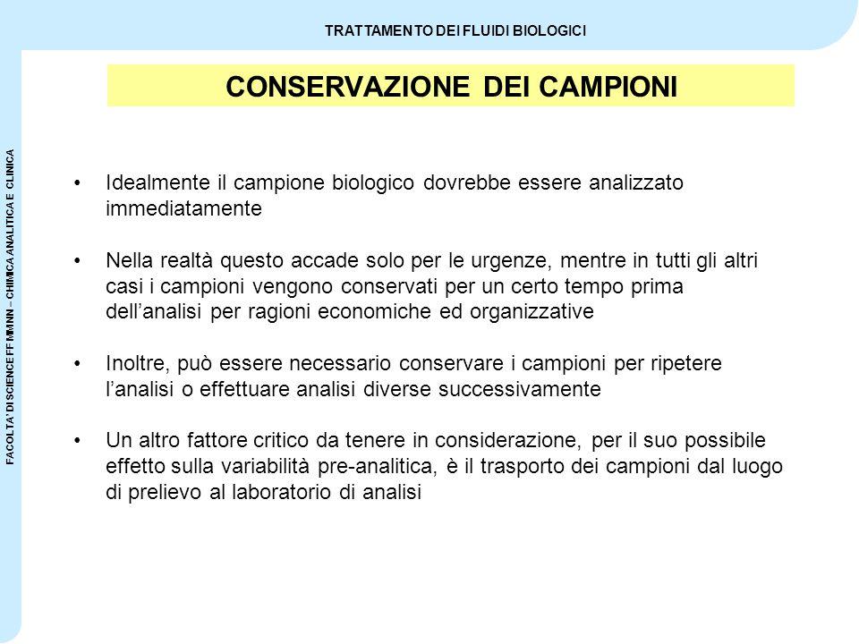 CONSERVAZIONE DEI CAMPIONI