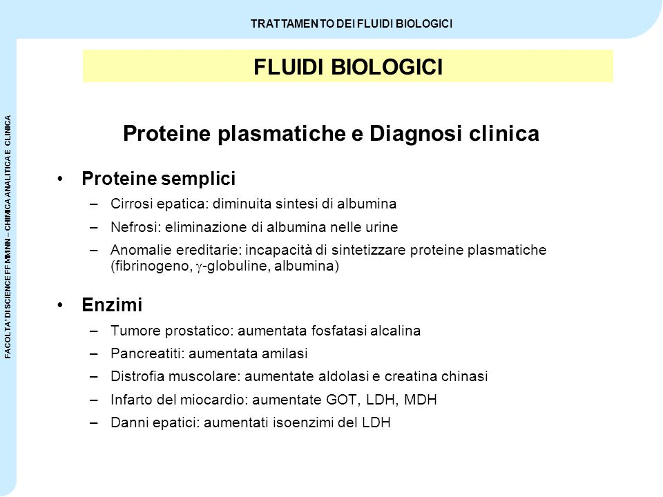 Proteine plasmatiche e Diagnosi clinica