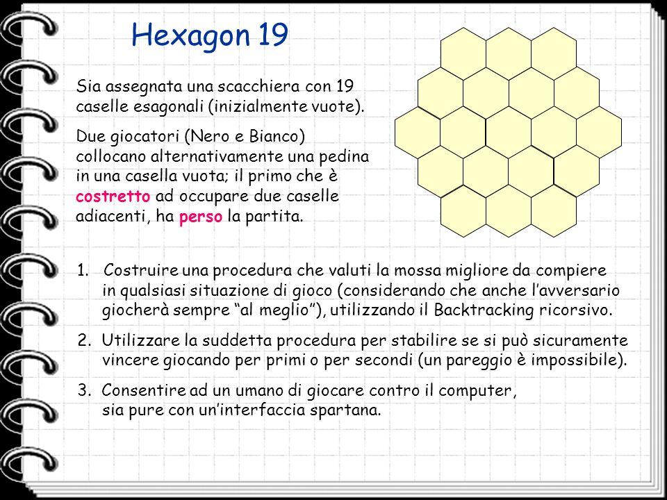Hexagon 19 Sia assegnata una scacchiera con 19 caselle esagonali (inizialmente vuote).
