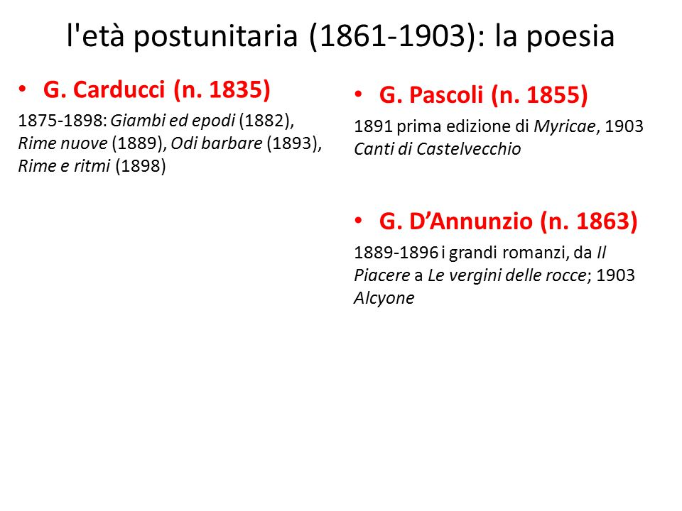 l età postunitaria (1861-1903): la poesia