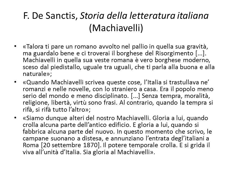 F. De Sanctis, Storia della letteratura italiana (Machiavelli)
