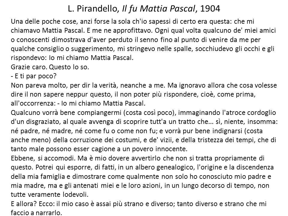 L. Pirandello, Il fu Mattia Pascal, 1904