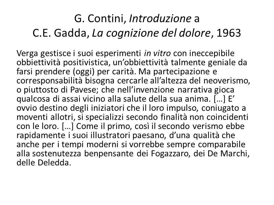 G. Contini, Introduzione a C.E. Gadda, La cognizione del dolore, 1963