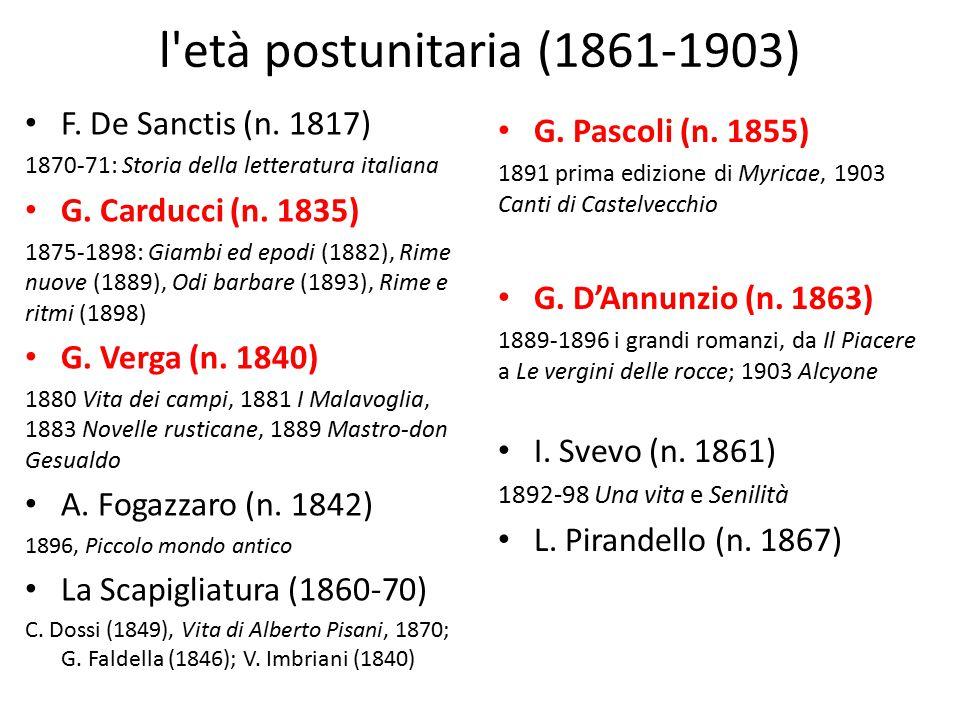 l età postunitaria (1861-1903) F. De Sanctis (n. 1817)