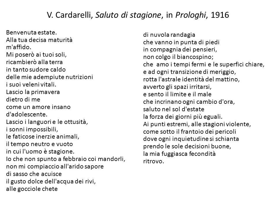 V. Cardarelli, Saluto di stagione, in Prologhi, 1916