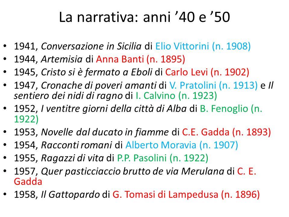 La narrativa: anni '40 e '50 1941, Conversazione in Sicilia di Elio Vittorini (n. 1908) 1944, Artemisia di Anna Banti (n. 1895)