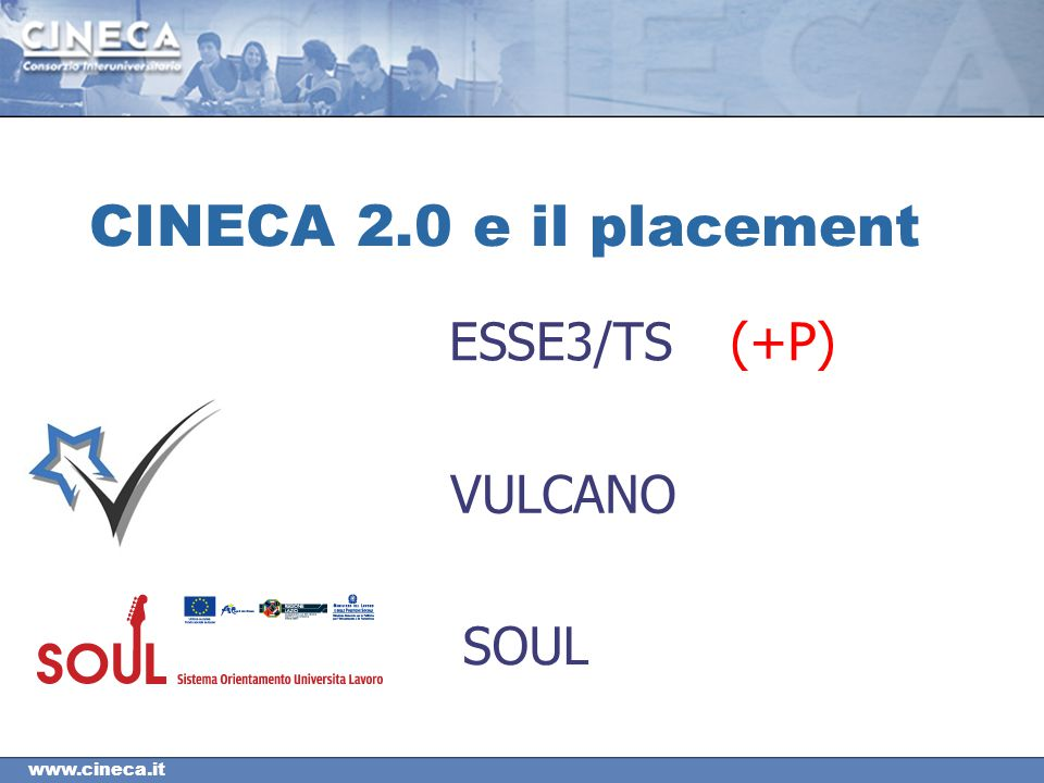 CINECA 2.0 e il placement ESSE3/TS (+P) VULCANO SOUL