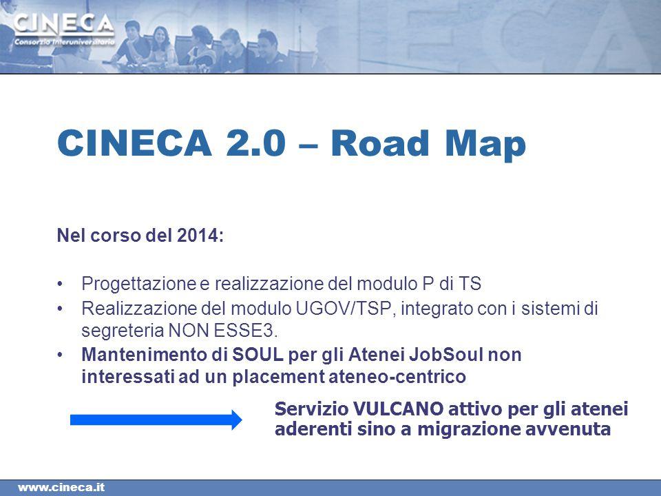 CINECA 2.0 – Road Map Nel corso del 2014: