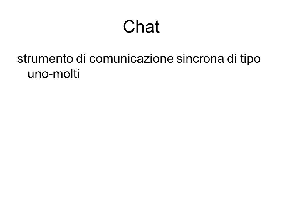 Chat strumento di comunicazione sincrona di tipo uno-molti Chat