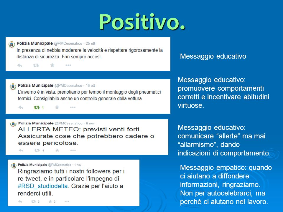 Positivo. Messaggio educativo