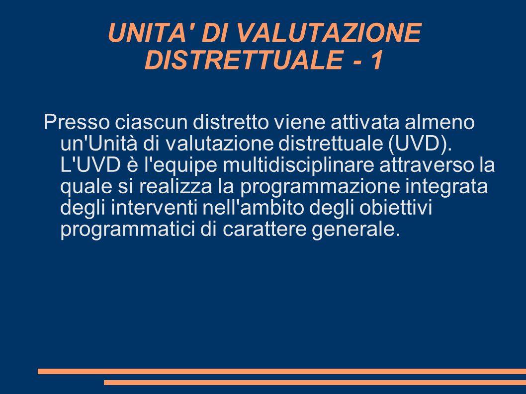 UNITA DI VALUTAZIONE DISTRETTUALE - 1