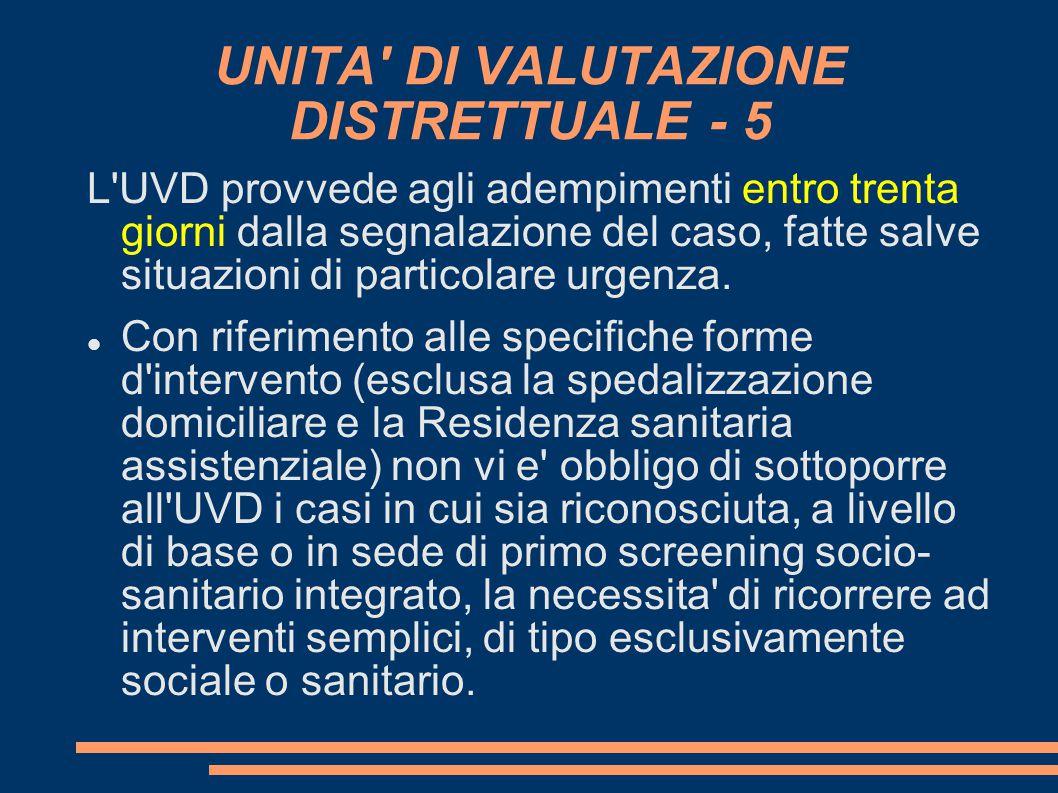 UNITA DI VALUTAZIONE DISTRETTUALE - 5