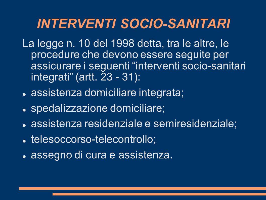 INTERVENTI SOCIO-SANITARI