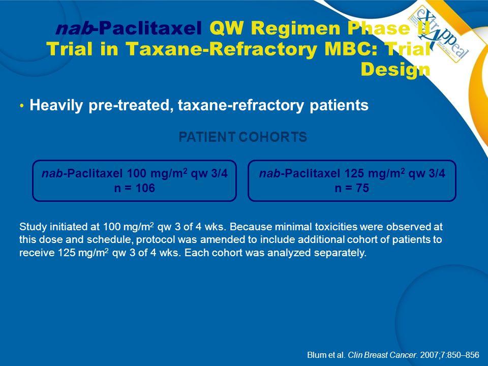 nab-Paclitaxel 100 mg/m2 qw 3/4 nab-Paclitaxel 125 mg/m2 qw 3/4