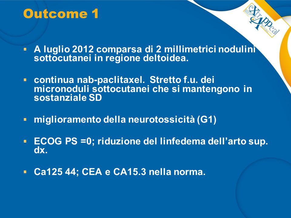Outcome 1 A luglio 2012 comparsa di 2 millimetrici nodulini sottocutanei in regione deltoidea.