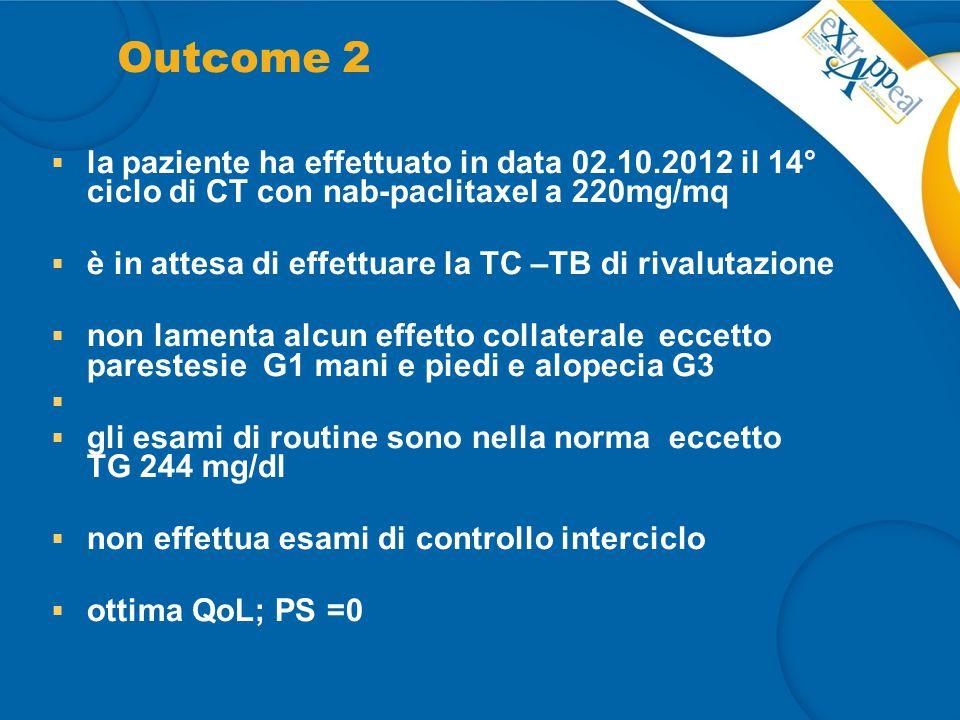 Outcome 2 la paziente ha effettuato in data 02.10.2012 il 14° ciclo di CT con nab-paclitaxel a 220mg/mq.