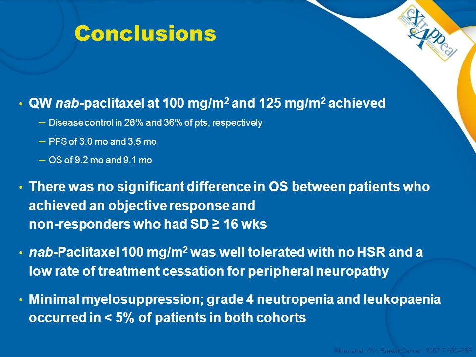 Conclusions QW nab-paclitaxel at 100 mg/m2 and 125 mg/m2 achieved