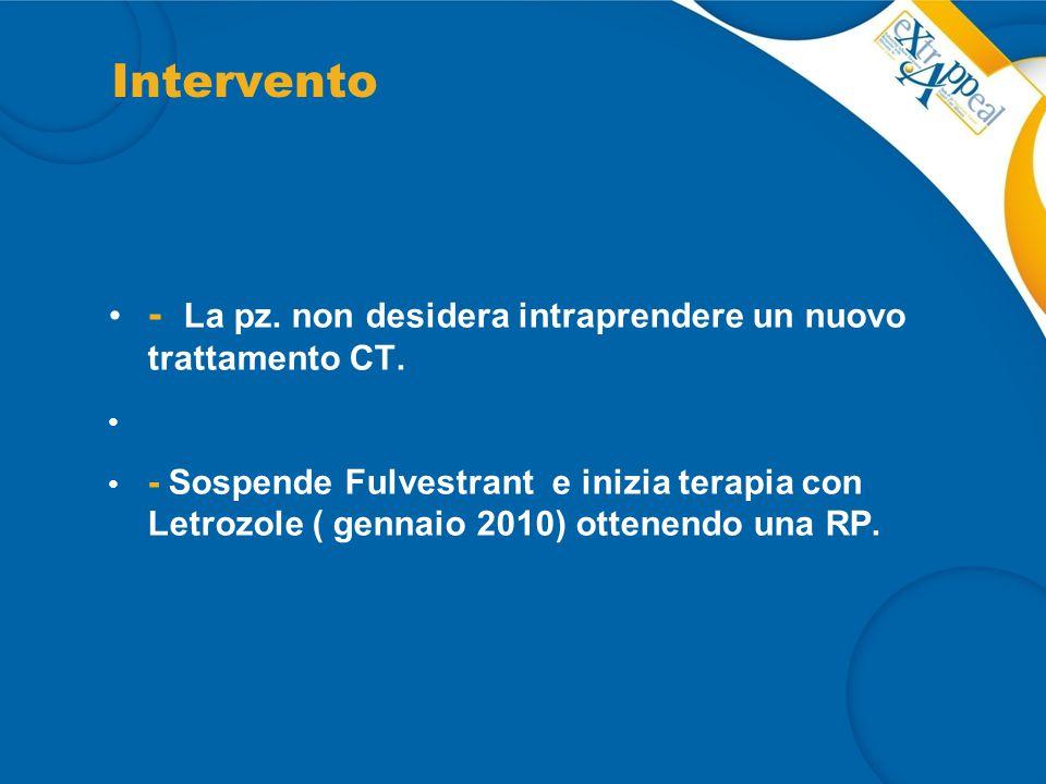 Intervento - La pz. non desidera intraprendere un nuovo trattamento CT.