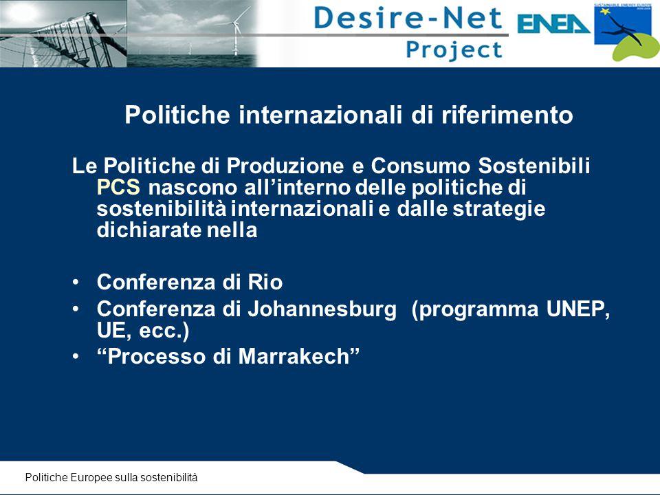 Politiche internazionali di riferimento