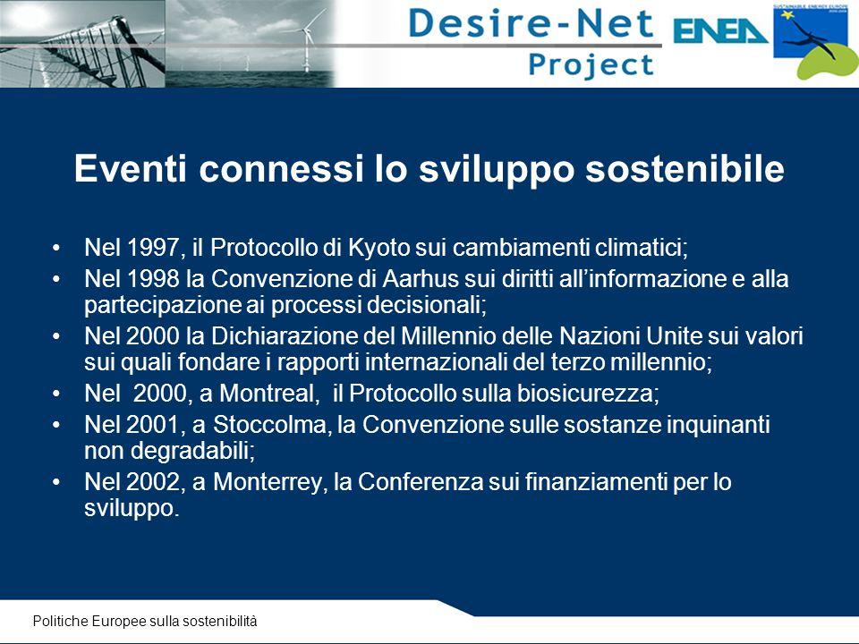 Eventi connessi lo sviluppo sostenibile
