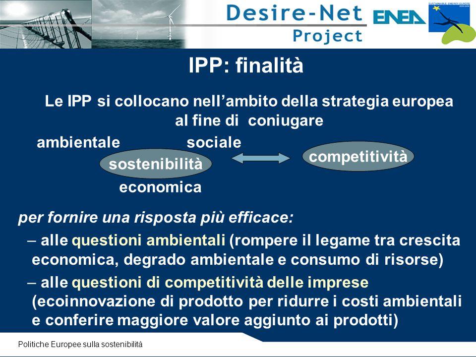 IPP: finalità Le IPP si collocano nell'ambito della strategia europea al fine di coniugare. ambientale.