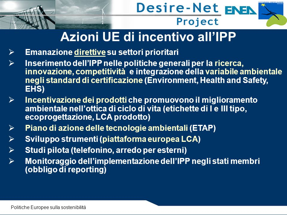 Azioni UE di incentivo all'IPP