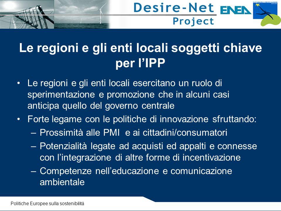 Le regioni e gli enti locali soggetti chiave per l'IPP