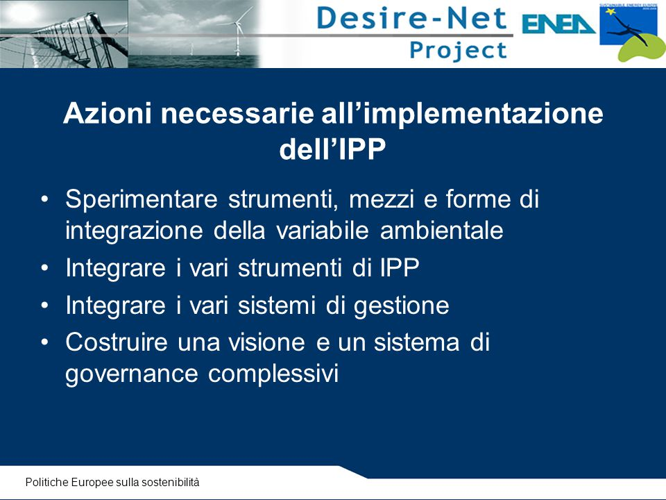Azioni necessarie all'implementazione dell'IPP