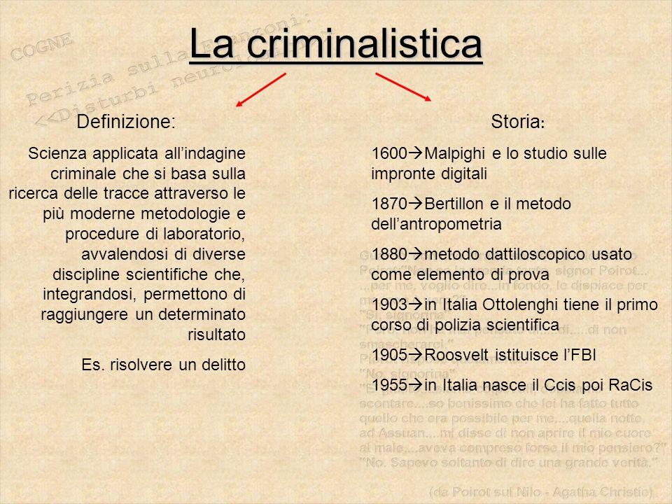 La criminalistica Definizione: Storia: