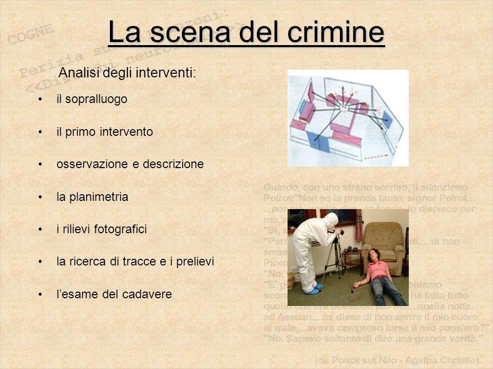 La scena del crimine Analisi degli interventi: il sopralluogo