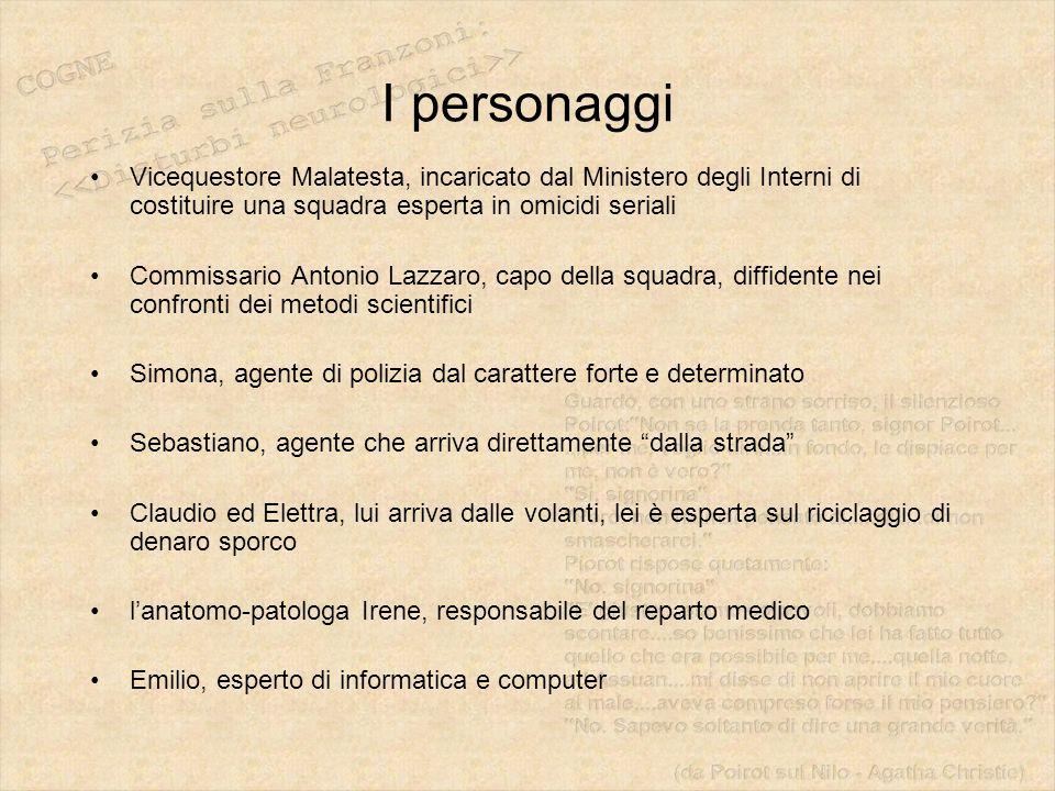 I personaggi Vicequestore Malatesta, incaricato dal Ministero degli Interni di costituire una squadra esperta in omicidi seriali.
