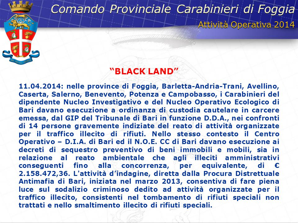 Comando Provinciale Carabinieri di Foggia