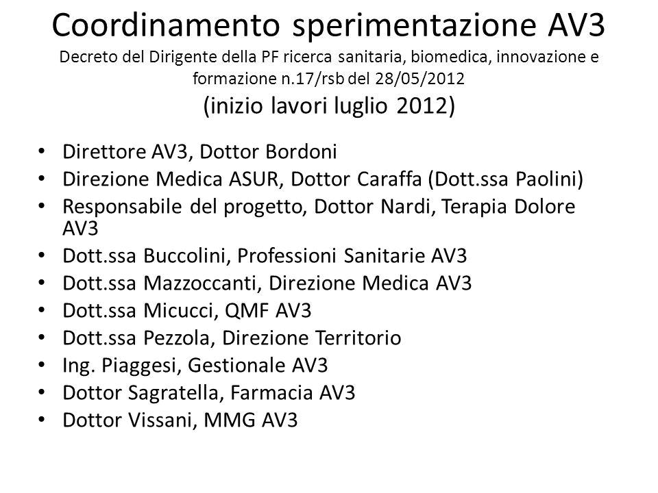Coordinamento sperimentazione AV3 Decreto del Dirigente della PF ricerca sanitaria, biomedica, innovazione e formazione n.17/rsb del 28/05/2012 (inizio lavori luglio 2012)