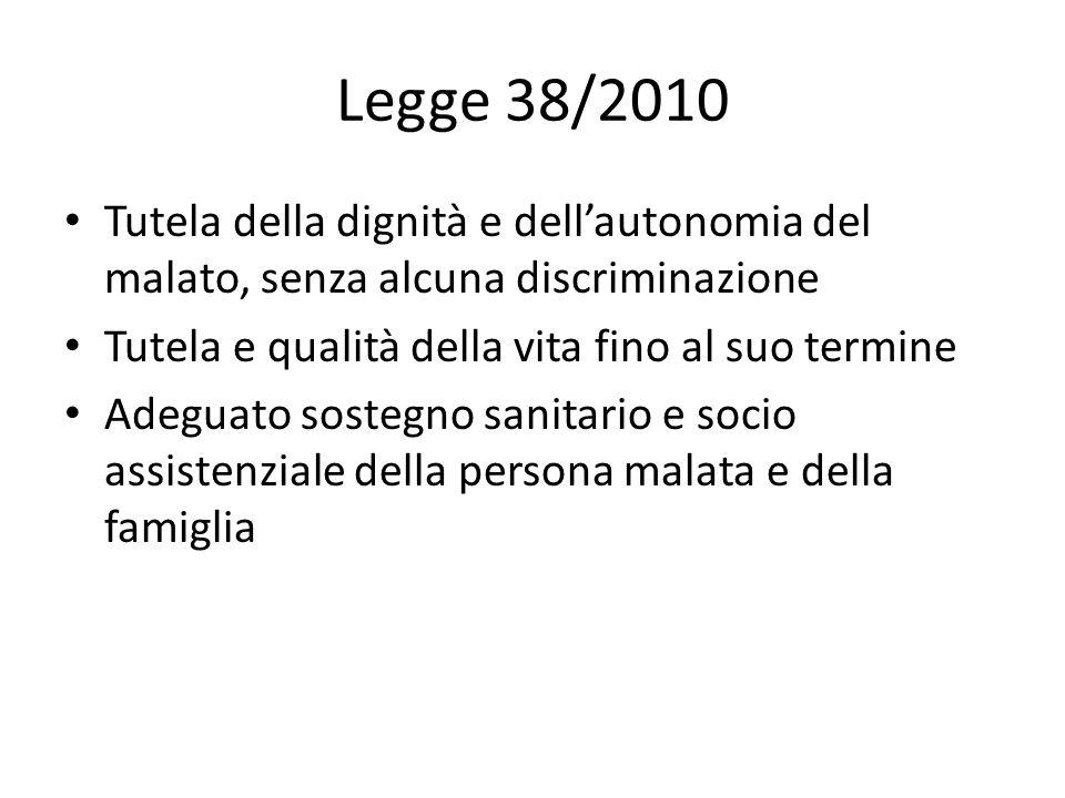 Legge 38/2010 Tutela della dignità e dell'autonomia del malato, senza alcuna discriminazione. Tutela e qualità della vita fino al suo termine.