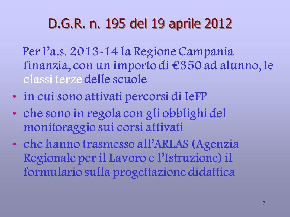 D.G.R. n. 195 del 19 aprile 2012 Per l'a.s. 2013-14 la Regione Campania finanzia, con un importo di €350 ad alunno, le classi terze delle scuole.