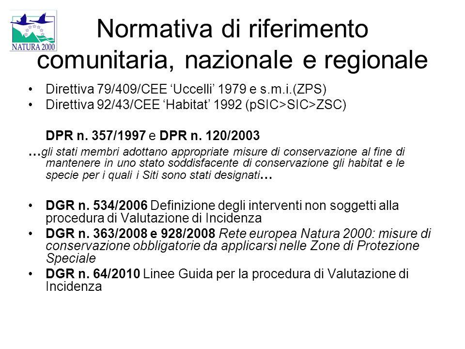 Normativa di riferimento comunitaria, nazionale e regionale