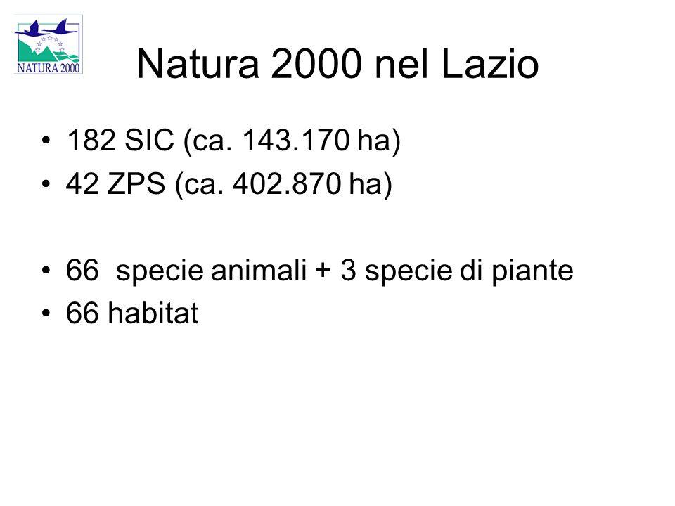 Natura 2000 nel Lazio 182 SIC (ca. 143.170 ha) 42 ZPS (ca. 402.870 ha)
