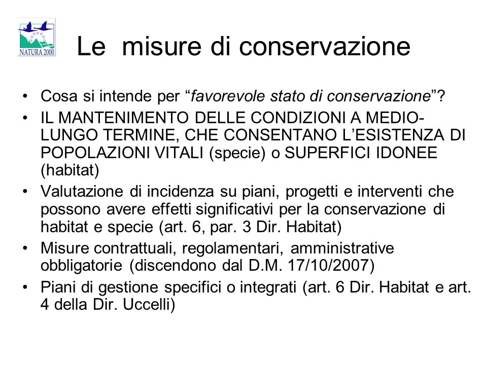 Le misure di conservazione