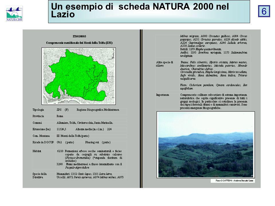 Un esempio di scheda NATURA 2000 nel Lazio