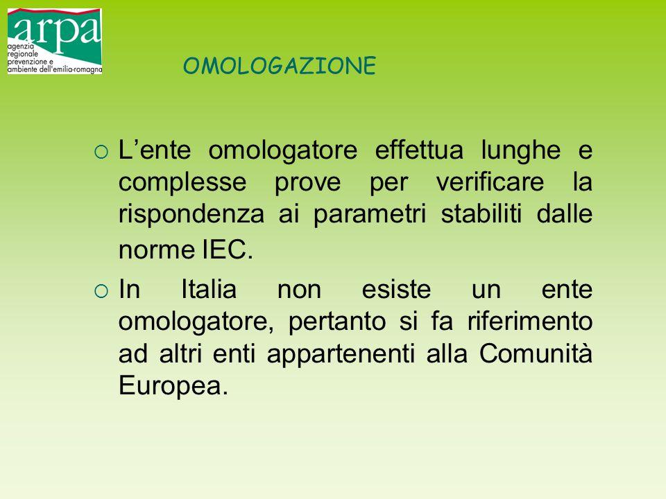 OMOLOGAZIONE L'ente omologatore effettua lunghe e complesse prove per verificare la rispondenza ai parametri stabiliti dalle norme IEC.