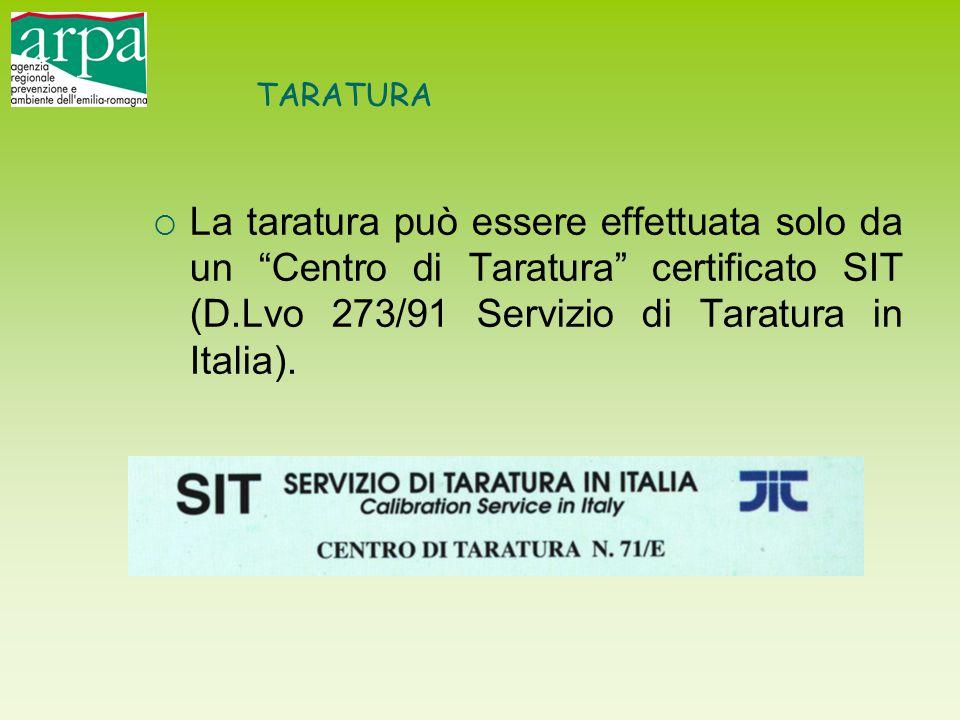 TARATURA La taratura può essere effettuata solo da un Centro di Taratura certificato SIT (D.Lvo 273/91 Servizio di Taratura in Italia).
