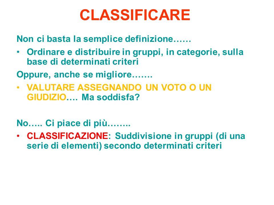 CLASSIFICARE Non ci basta la semplice definizione……