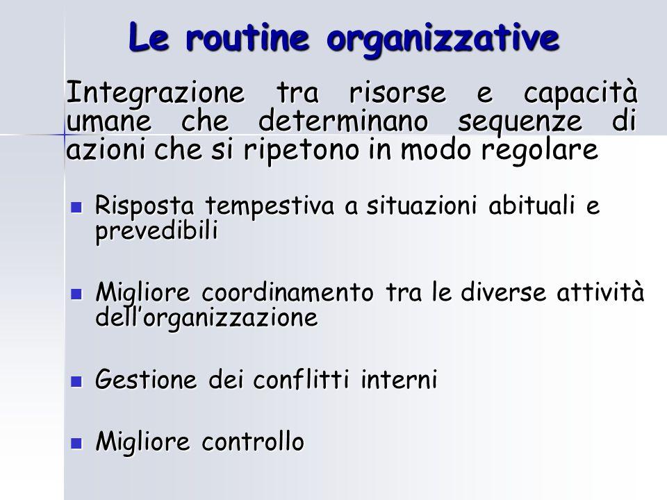 Le routine organizzative
