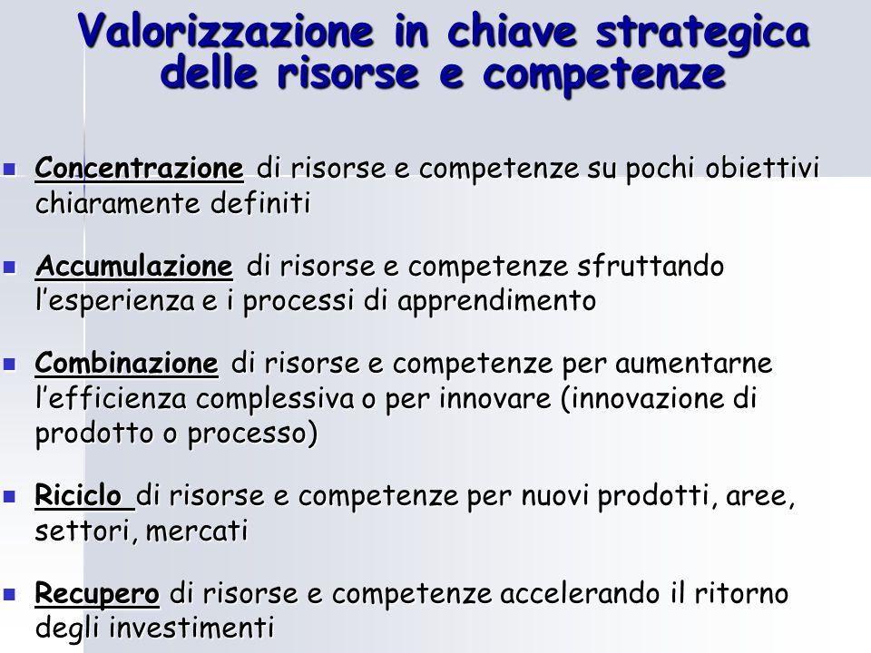 Valorizzazione in chiave strategica delle risorse e competenze