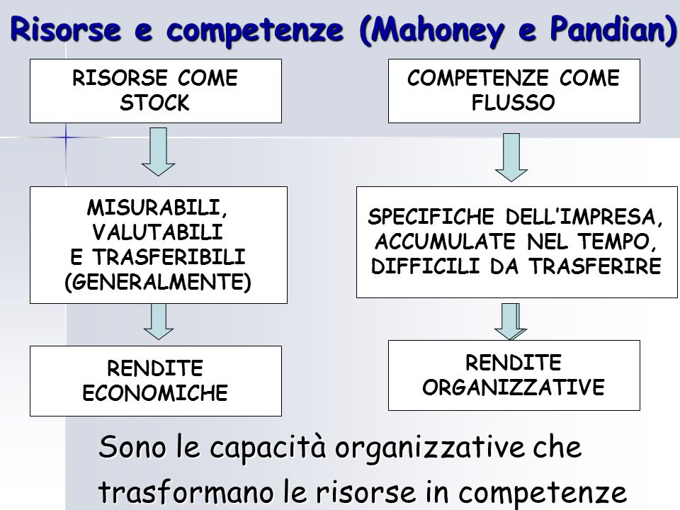 Risorse e competenze (Mahoney e Pandian)