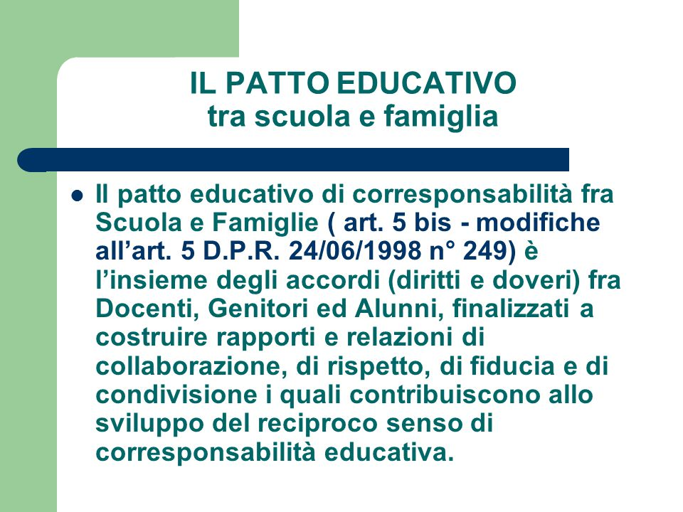 IL PATTO EDUCATIVO tra scuola e famiglia