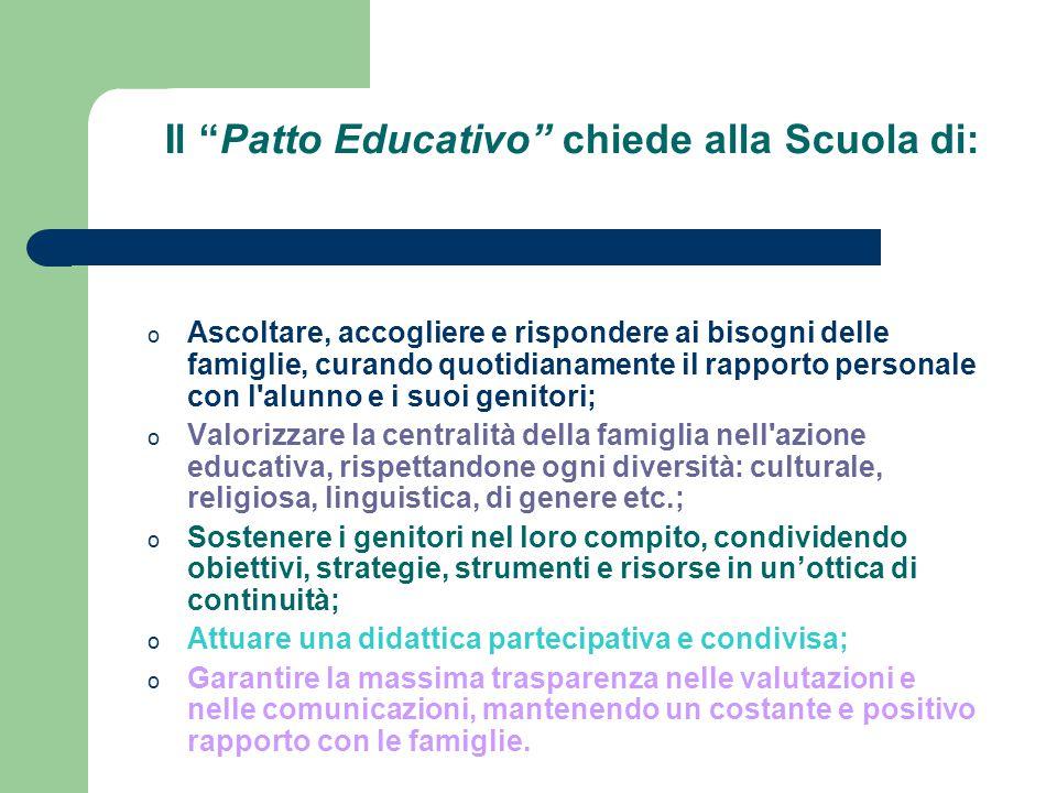 Il Patto Educativo chiede alla Scuola di: