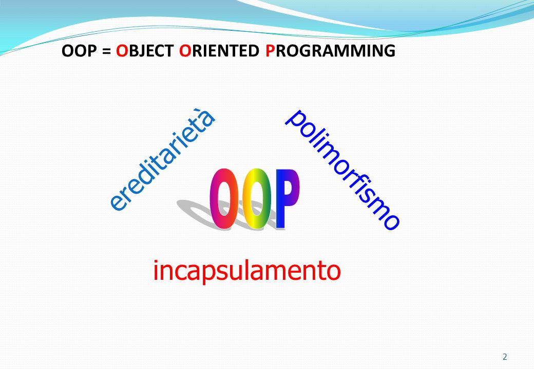 OOP = OBJECT ORIENTED PROGRAMMING