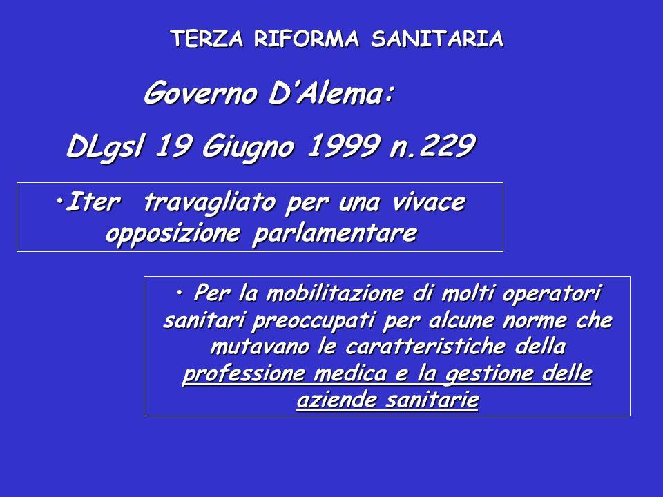Governo D'Alema: DLgsl 19 Giugno 1999 n.229