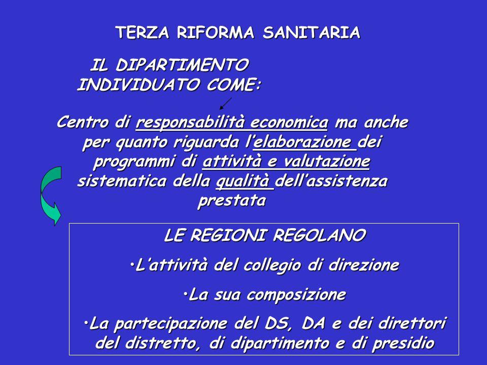 TERZA RIFORMA SANITARIA
